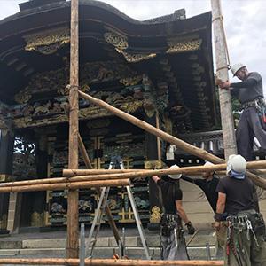 唐門修復情報 素屋根建設工事 Vol.1「丸太を用いた伝統的な素屋根」