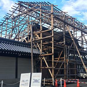 唐門修復情報 素屋根建設工事Vol.2「素屋根の棟が上がりました」